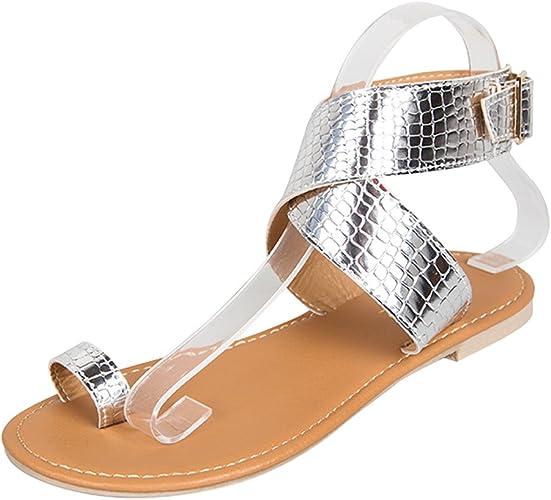 gracosy Sandales Plates Femmes, Chaussures Été en Cuir à