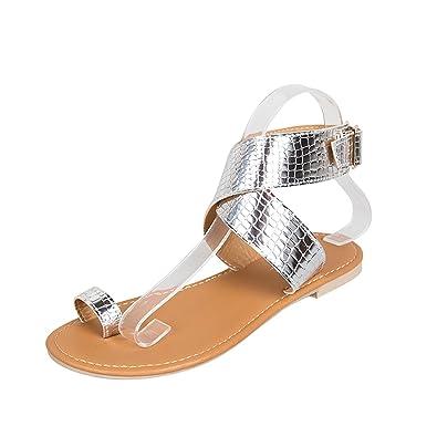 fd2efedd060c96 Gracosy Sandales Plates Femmes, Chaussures Été en Cuir à Talons Plats Tongs Nu  Pieds Claquettes