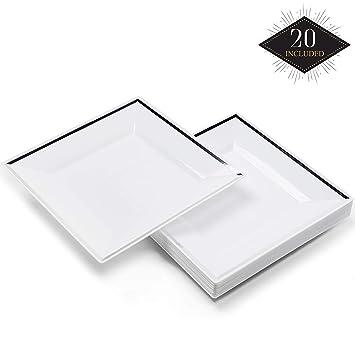 20 Premium Pequeños Platos Cuadrados de Plástico Duro Desechables con Borde Plateado, Platos de Postre, 16.5cm| Durable Lavable y Reutilizable| ...