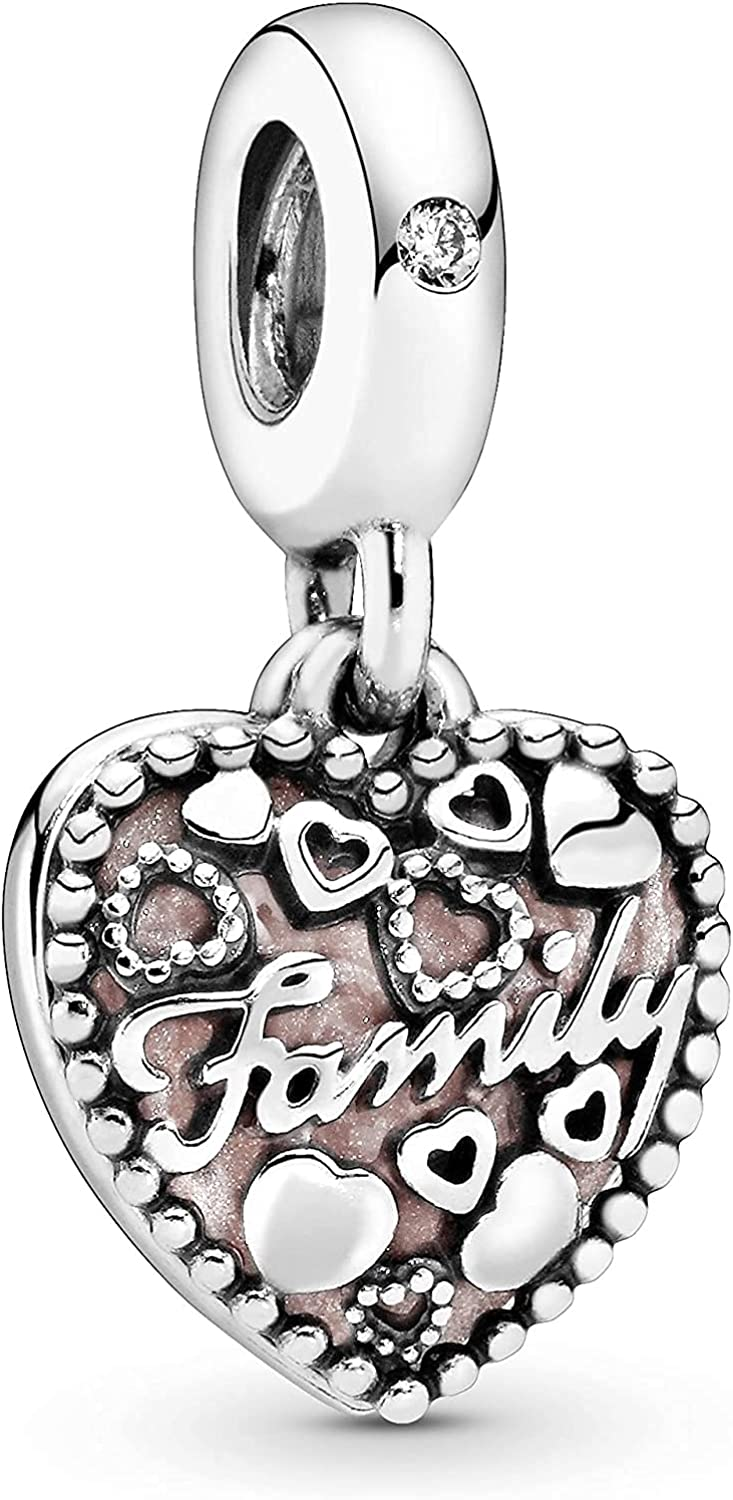 La Menars Family Tree Sweet Home Love Cubic Zirconia Charms for Bracelets Silver Heart Glod Plated Beads for Necklaces Pendant Valentine's Day Mother's Day Birthday Gift