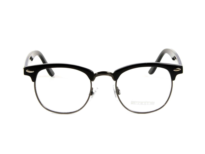 Goson Classic Vintage Retro Half Frame Horn Rimmed Clubmaster Optics 50mm Clear Lens Glasses frame&optic 8494