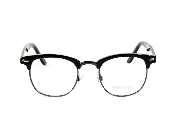 Amazon.com: Goson Classic Black Gunmetal Frame/Clear Lens Horned Rim ...