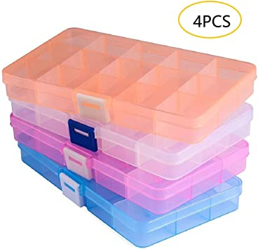 6 Pack Plastic Organizer Bead Storage Box with Compartments Containers with Movable Dividers for Small Earring Jewelry Craft Sewing Supplies 15 Grid