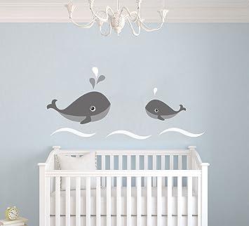 Las ballenas y olas - bebé - guardería vinilo de pared para cuarto ...