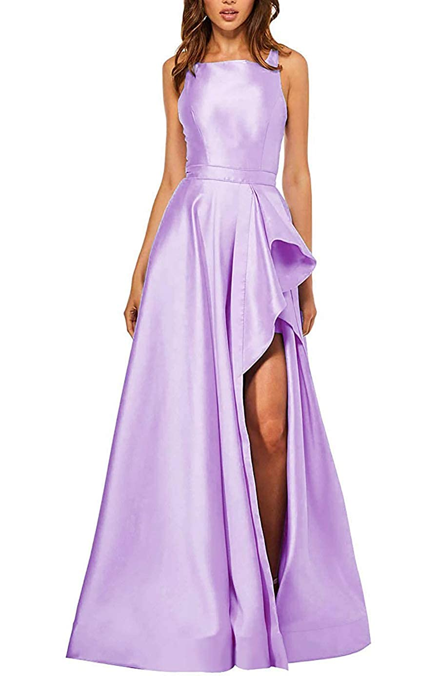 Begonia PrettyTatum Women's Backless Long Prom Dresses Formal Evening Ball Gowns with Split Pockets