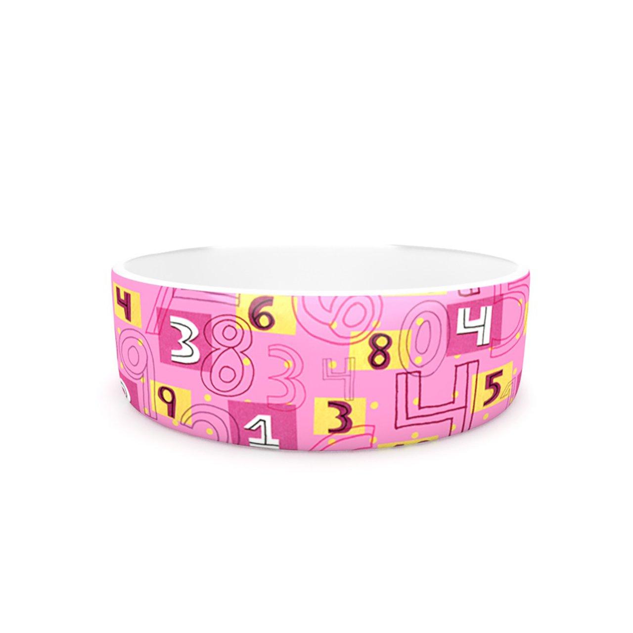 Kess InHouse Jane Smith Vintage Playground II  Pet Bowl, 7-Inch, Pink Yellow