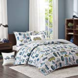 4 Piece Kids Blue White Car Themed Full Queen Coverlet Set, Novelty Yellow Grey Bus Cars Scooter Trailer Trees Camping Road Trip Signs Mountains Automobiles, Cotton