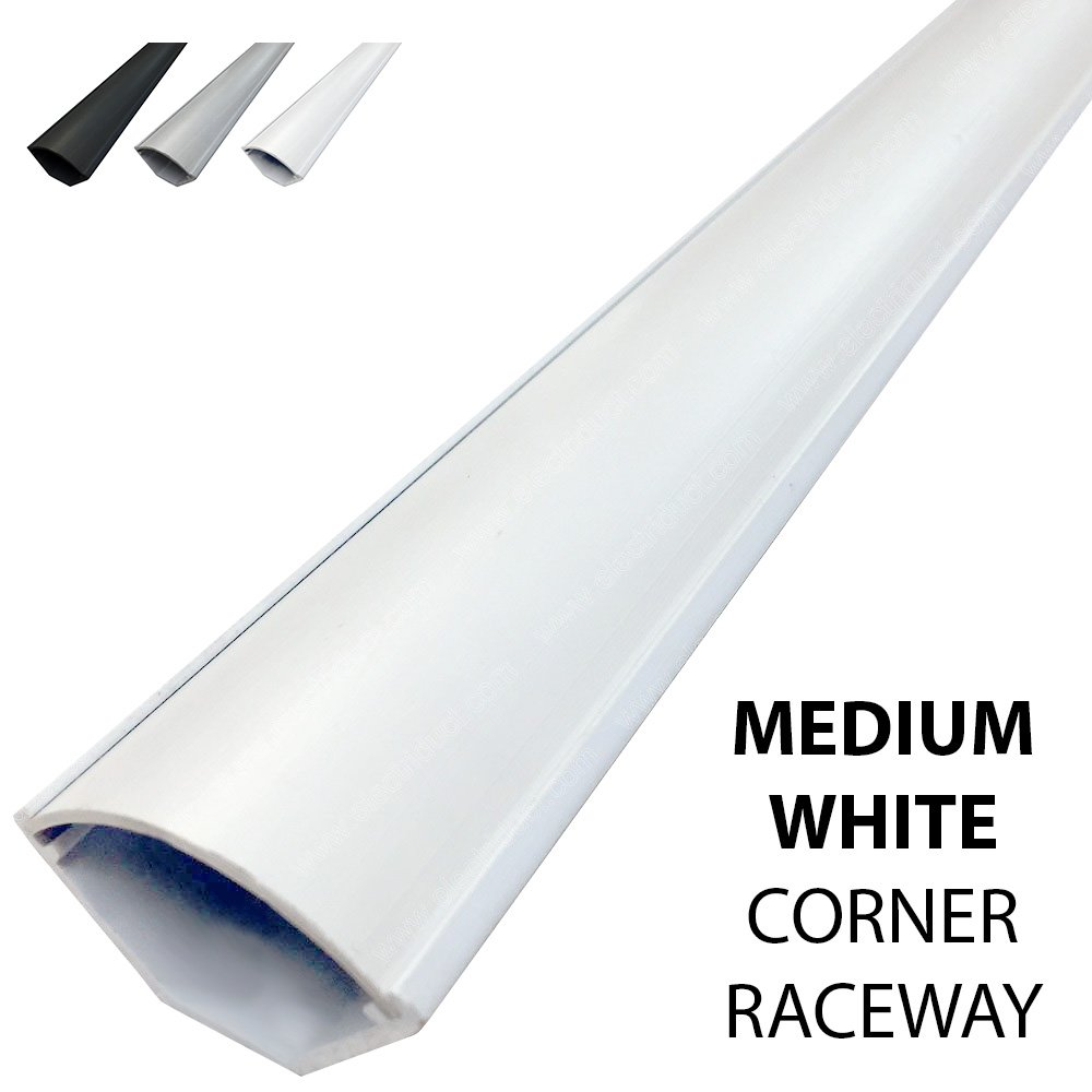 Medium Corner Duct Cable Raceway (1150 Series) - 5 Feet - White - 4 Sticks