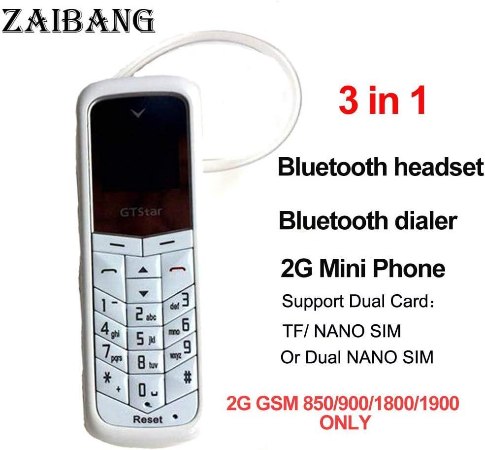 GTStar BM50 plus petit téléphone Bluetooth 3 en 1 mini téléphone Bluetooth dialer Bluetooth écouteur soutienseulement la norme carte SIM changeur (Blanc)