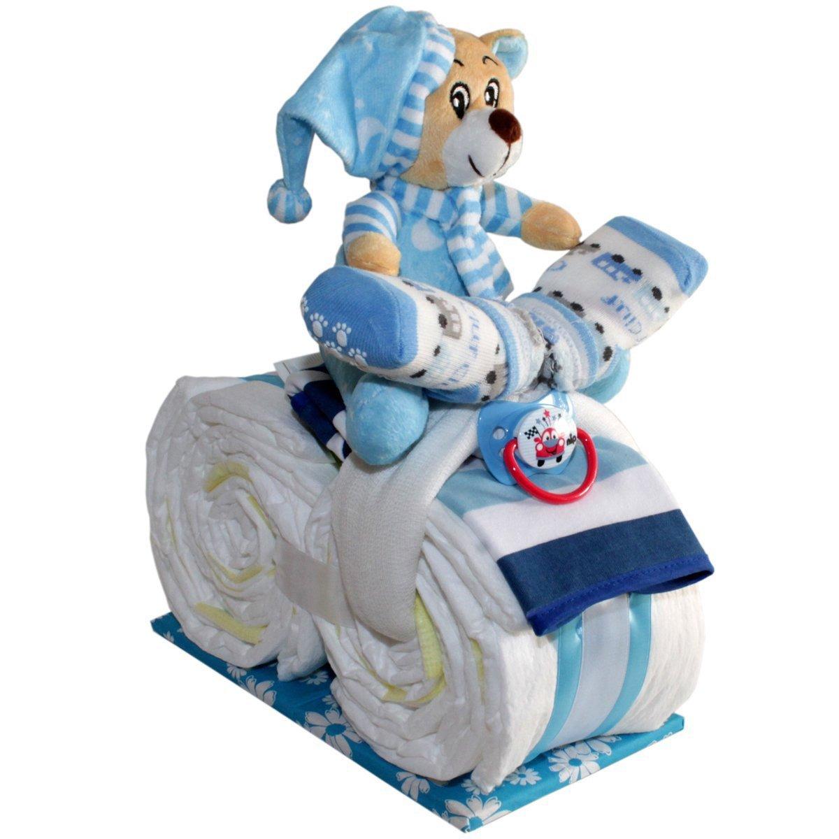 Kleines Windelmotorrad Justin für Jungen Geschenk zur Geburt Taufe Windeltorte (Blau) Windeltorten.Eu