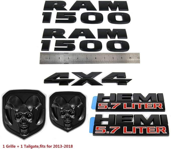 7pcs Set OEM 1500 4X4 Plus Grille Tailgate 5.7 Liter Emblems Badge 3D Replacement for 1500 2013-2018 Black