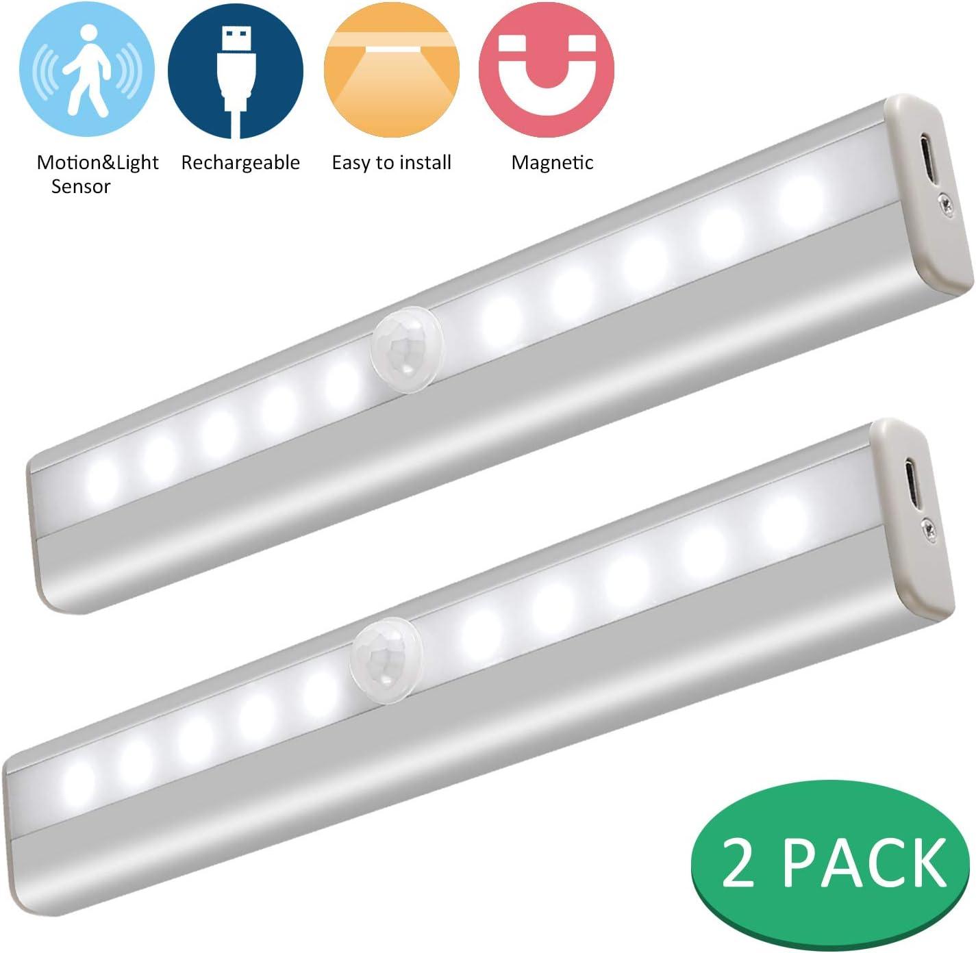 Lámpara LED de Armario, 10 LED USB Recargable Barra de Luz Làmpara con Sensor de Movimiento Inalámbrico para Armario, Gabinete, Pasillo, Baño, Cajón,[Clase de eficiencia energética A]