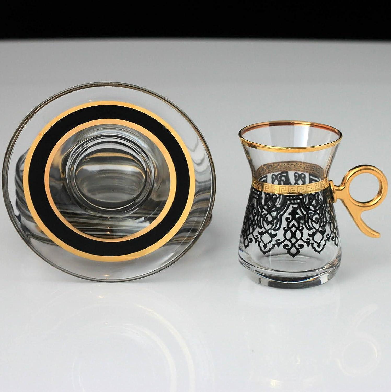 LaModaHome Turkish Arabic Tea Glasses Set, Fancy Vintage Handmade Set for Serving, Teatime, New Home Wedding Gift Ilayda Black Color Turkish Tea Set with Holder