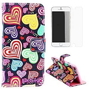 Welity Colorful Heart Pattern Design Pu Leather with wallet Case for Apple iPhone 6 Plus(5.5-inch)and one gifts