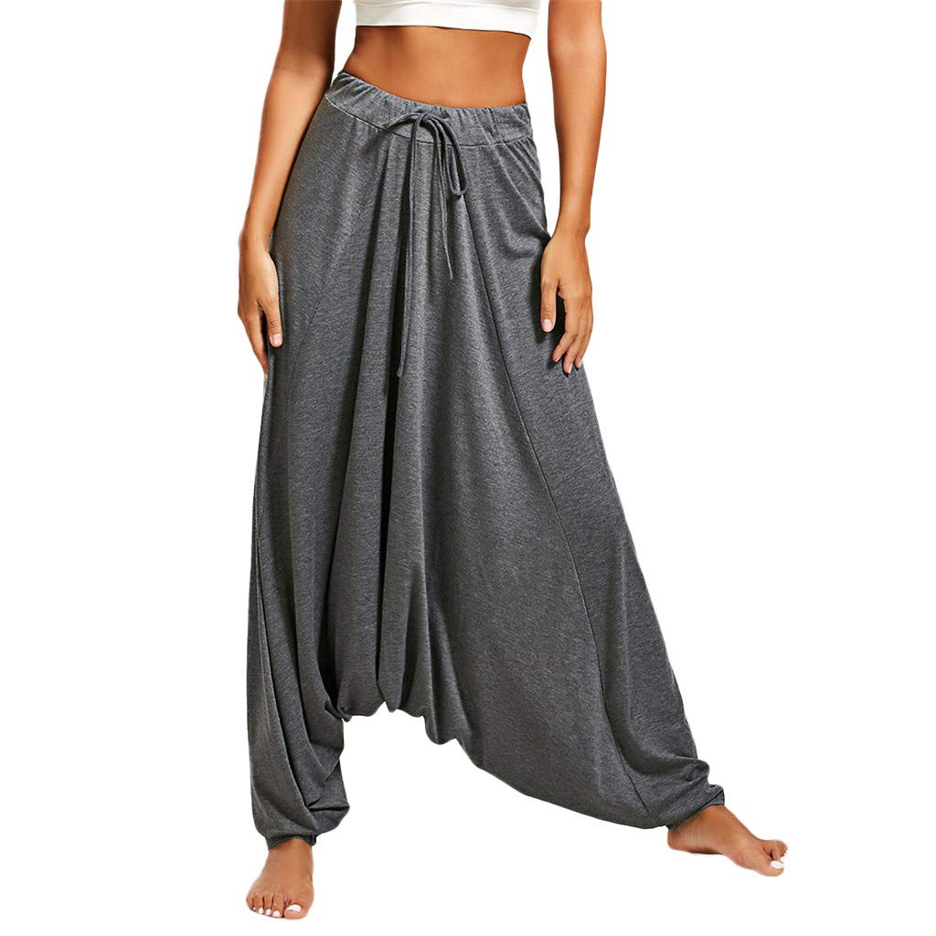 EINCcm Harem Pants Women's Hippie Bohemian Yoga Pants, Elastic Roomy Super Comfy Drop Crotch Summer Pants(Gray, S) by EINCcm