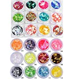Minejin Nail Art Round Mermaid Glitter Sequins With Broken Shell Glass Paper Candy Foil Paillette Flakes Diy Tips 2 Set