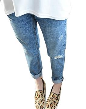 DianShao Mujer Pantalones Talle Alto Rotos con Las Rodillas Vaquero Anchos Pantalones Casuales Club Wear