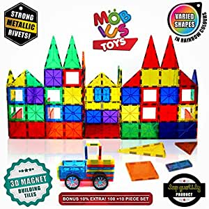 Magnetic Building Blocks, 100+10 Extra Magnetic Tiles, 3D Magnet Building Toys Set, Educational Construction Magnetic for Kids, Varied Shapes in Rainbow Colors, Strong Metallic Rivets, Wheels & Bag