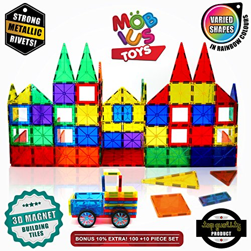 Magnetic Building Blocks.100 +10 Extra Pieces Set of 3D Magnet Building Tiles. Educational Construction Magnetic Toy for Kids. Strong Metallic Rivets. Varied Shapes in Translucent Rainbow Colours ...