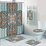 5 Piece Bath Rug Set,Collection Arabian Style Geometric Pattern Islamic Persian Art Elements and Baroque Touch Art Print Bathroom Rugs Shower Curtain/Rings and Both Towels
