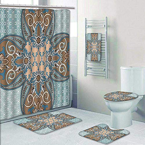 5 Piece Bath Rug Set,Collection Arabian Style Geometric Pattern Islamic Persian Art Elements and Baroque Touch Art Print Bathroom Rugs Shower Curtain/Rings and Both Towels by AmaPark