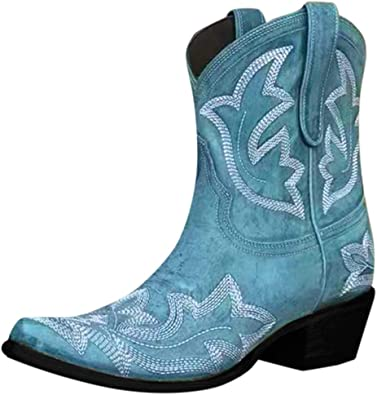 Womens Cowboy Western Boots Ladies Low Block Heel Leather Ankle Boots Shoes Size