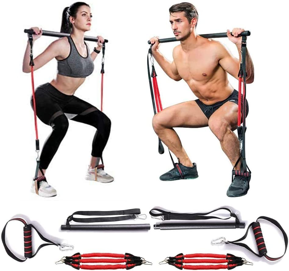 MMCAT Portable Home Gym Yoga Pilates Stick Fitness Bar Kit for Women & Men Squat and Glutes Workout, Adjustable Exercise Resistance Trainer Band with Foot Loop for Full Body Stretch, Sculpt