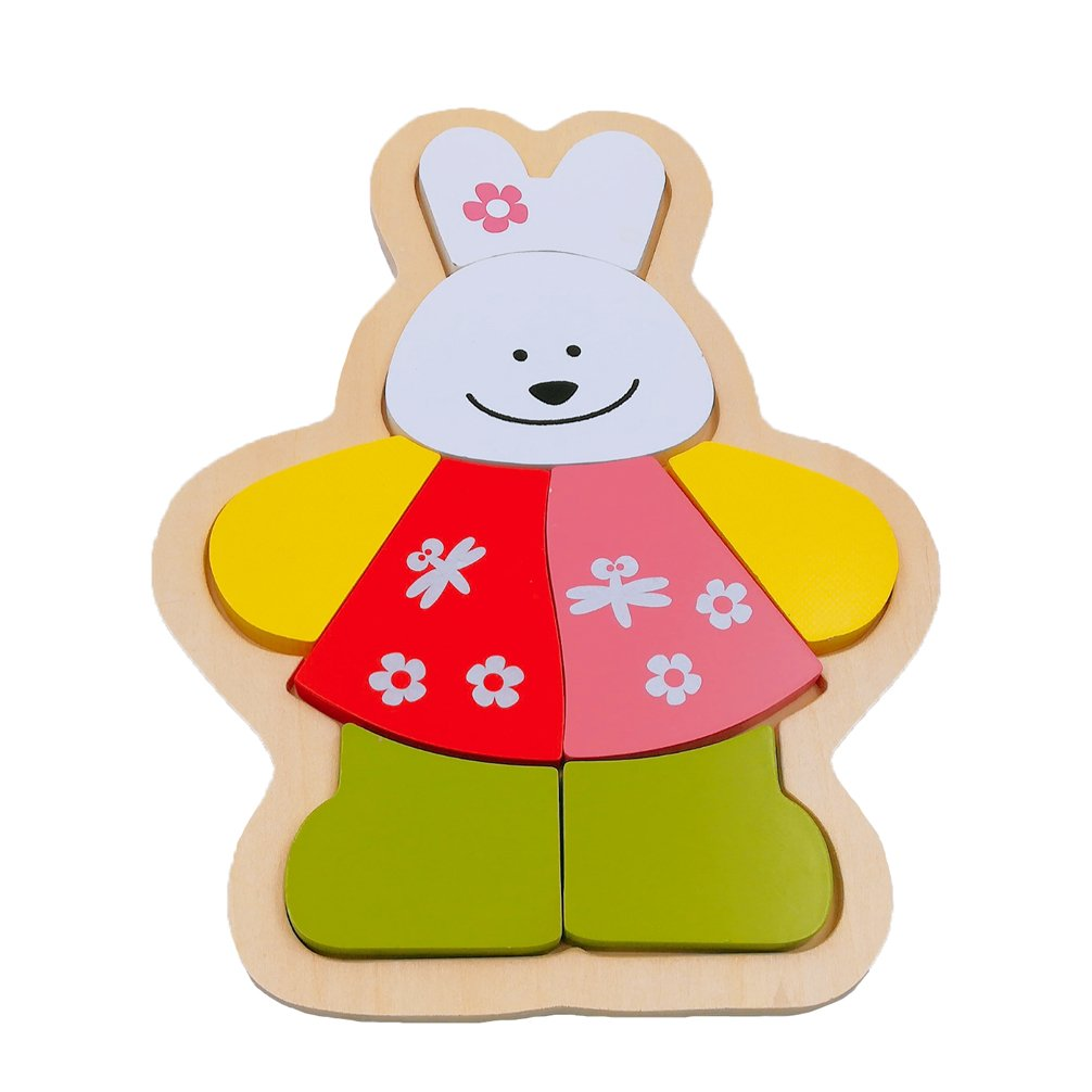 DreamsEden Wooden Jigsaw Puzzles for Toddlers - Animal Chunky Puzzles Educational Toys for Kids Boys Girls, Free Drawstring Bag for Easy Storage (Bunny)