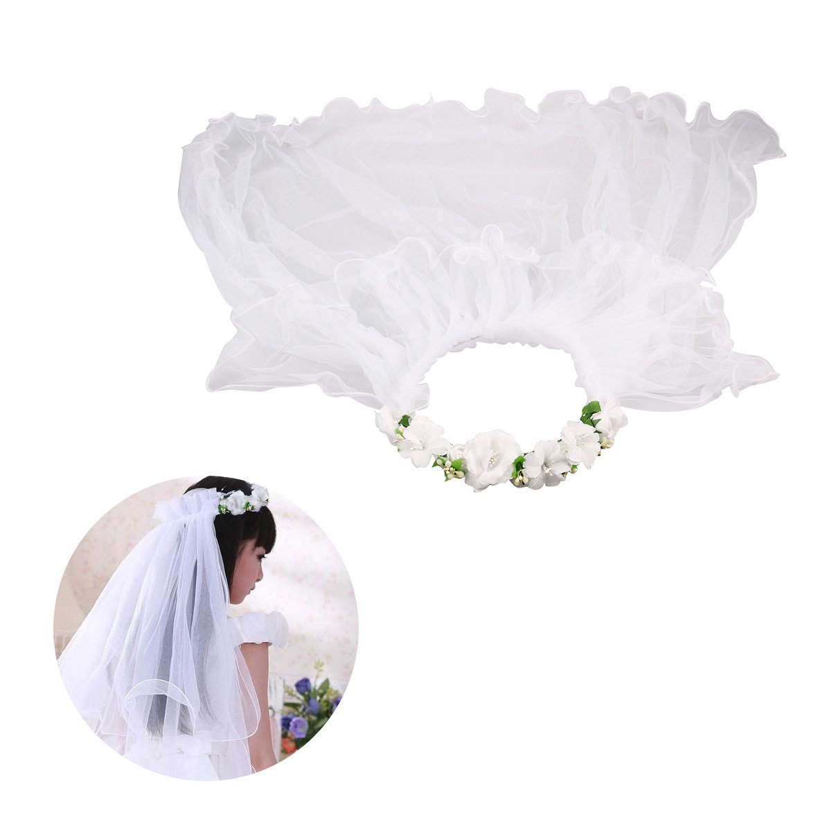 BESTOYARD Mädchen Hochzeitsschleier Erste Kommunion Schleier Hochzeit Blume Krone Kranz (weiß)