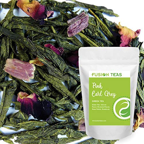 (Pink Earl Grey Green Tea with Rhubarb & Rose Buds - Gourmet Bergamot Citrus Infused Floral Loose Leaf Sencha Tea - 5 Oz. Pouch)