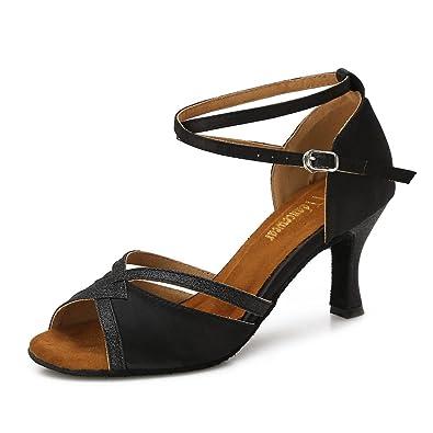 887a1eaad2a8 TTdancewear Women Ballroom Dance Shoes Latin Salsa Bachata Performance  Sparkly Dance Dancing Shoes 5- Black