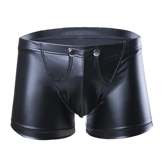 51863f9f632224 iixpin Herren Boxershorts Unterhose Slip Pants Hipster Kunstleder Wetlook  Männer Unterwäsche schwarz Leder Shorts ML XL XXL