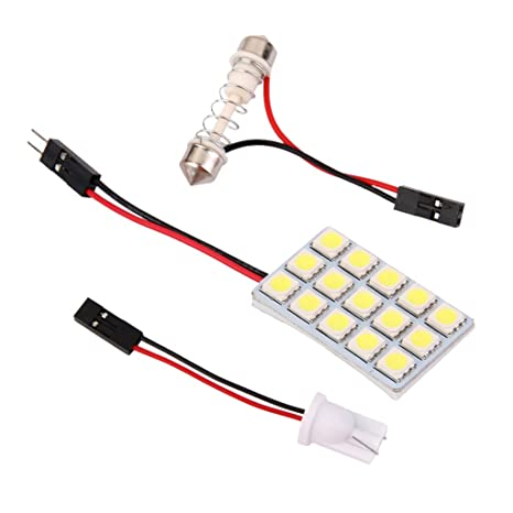 Sharplace Coche De La Luz Del Panel Interior 15 SMD LED T10 BA9S Bulbo Cúpula 12v