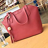 Meolin Three-piece Lychee Pattern Handbag Shoulder Bag Diagonal Bag with Tassel Pendant ,red,.