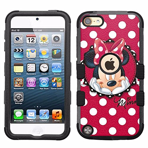 for iPod Touch 5/6, Hard+Rubber Dual Layer Hybrid Heavy-Duty Rugged Armor Cover Case - Minnie Mouse Polk Dots - Ipod Case Mouse Minnie For 5