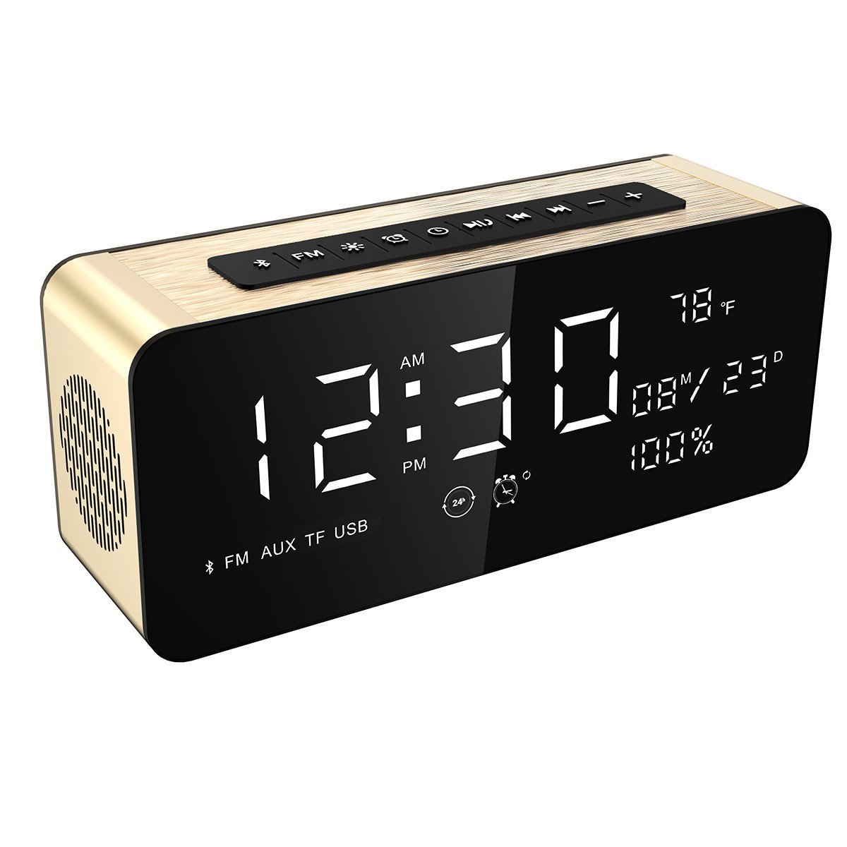 "Soundance Alarm Clock FM Radio Bluetooth Speaker with HD Sound 9.4"" LED Digital Display of Time Date Temperature, iPhone Android Aux MicroSD TF USB Support, Wireless for Office Bedroom Home A10 Sliver"
