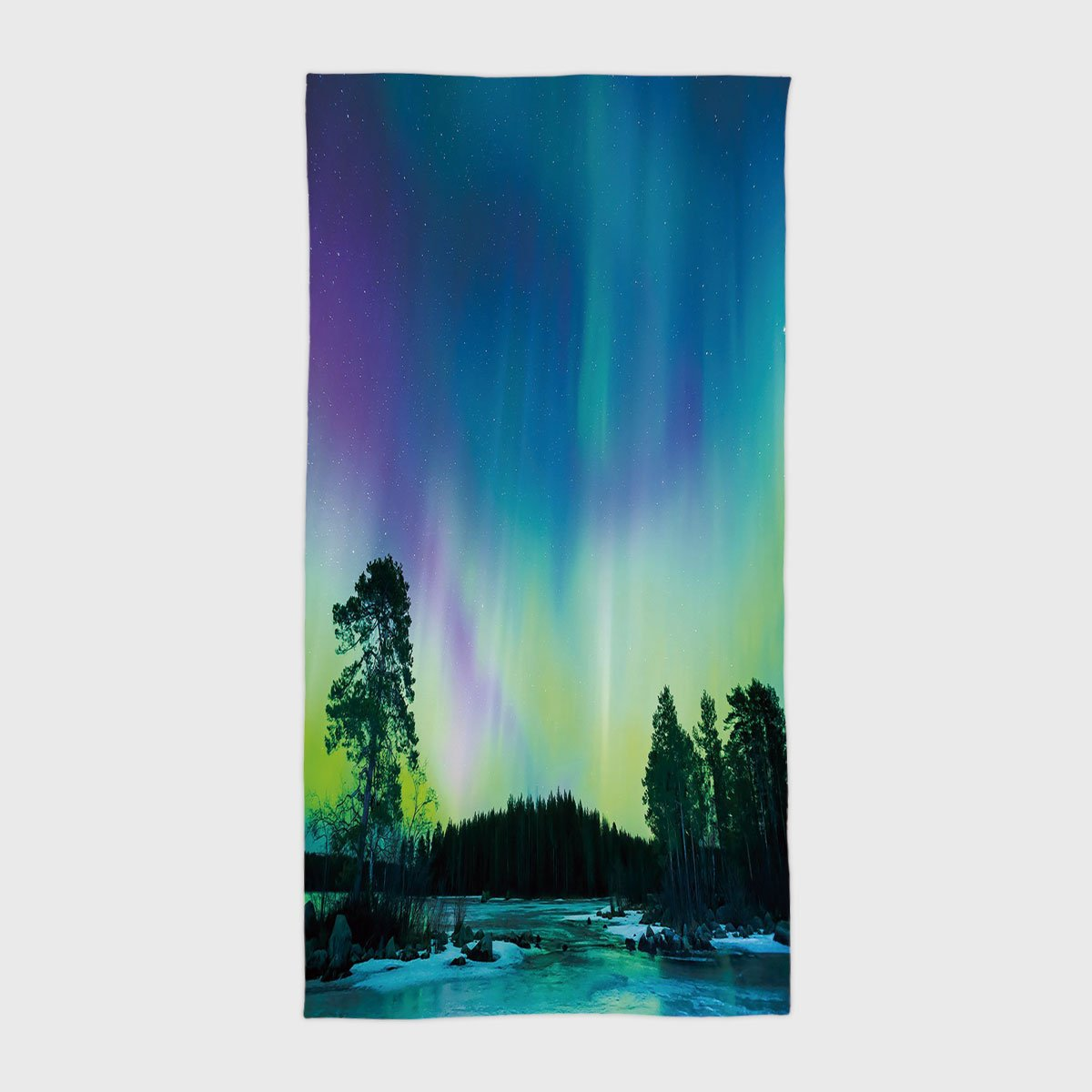 One Side Printing Hotel SPA Beach Pool Bath Hand Towel,Northern Lights Sky over Lake Surrounded Forest Woods Hemisphere Print Violet Blue Lime Green Purple,for Kids Teens and Adults