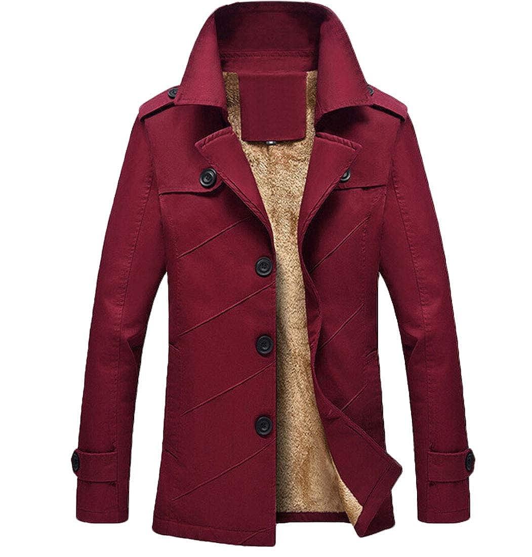 Keaac Mens Cotton Jacket Single-Breast Windbreaker Wind Trench Coat Lightweight Coat with Fleece