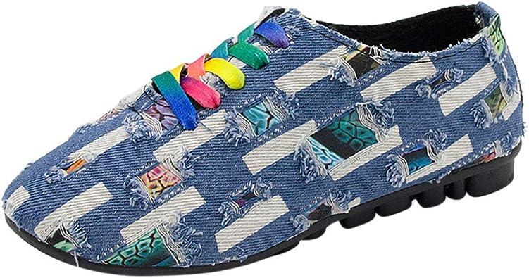 Zapatillas de Lona para Vaquero Encaje Mujer Zapatos de Plano de Dama Tira de Tobillo Casual Cómodo Talla Grande Calzado de Señora Moda Atado al Tobillo: Amazon.es: Zapatos y complementos