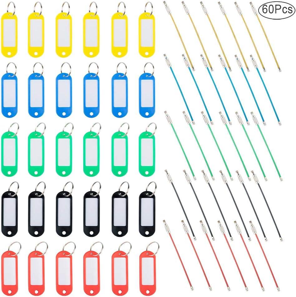 30 PC clave Etiquetas con cables llaveros, Finegood 30 Clave de plástico con etiquetas Etiqueta de Windows y llavero metal