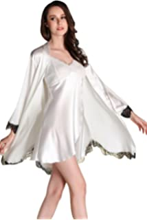 fb520d064 Awaye Satin Nightgown with Robe Solid Lace Silk Like 3 4 Sleeve Night Gown  Two