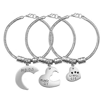 0952b424c123 Hermana regalo encanto pulsera Set - 3 piezas plata cristal amor corazón  grande medio Little Sis enlace pulseras moda Navidad cumpleaños joyas para  hermanas ...