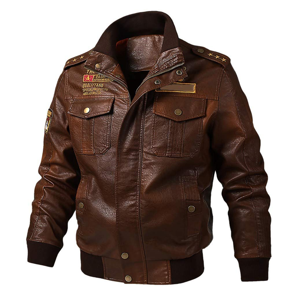 refulgence Men's Stand Up Collar Faux Leather Jacket Motorcycle Outdoor Fashion Casual Coat (Brown,M) by refulgence