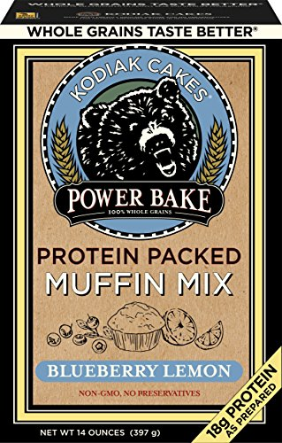 Kodiak Cakes Power Bake, Non GMO, Protein Packed Muffin Mix, Blueberry Lemon, 14 Ounce (Pack of 6) - No Preservatives