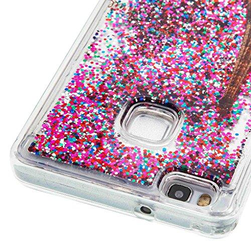 Trumpshop Smartphone Carcasa Funda Protección para Huawei P8 Lite (2017) + A Pretty Dream + TPU 3D Liquido Dinámica Sparkle Estrellas Quicksand Resistente a arañazos Caja Protectora París