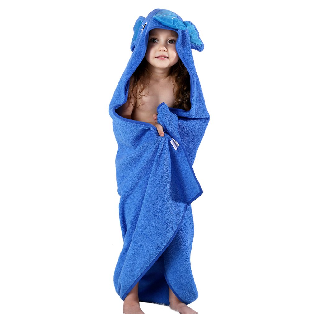 IDGIRLS Animal Hooded Soft Cotton Terry Large Bath Towels for Baby Unisex fit 0-6 Year Old, Blue by IDGIRLS