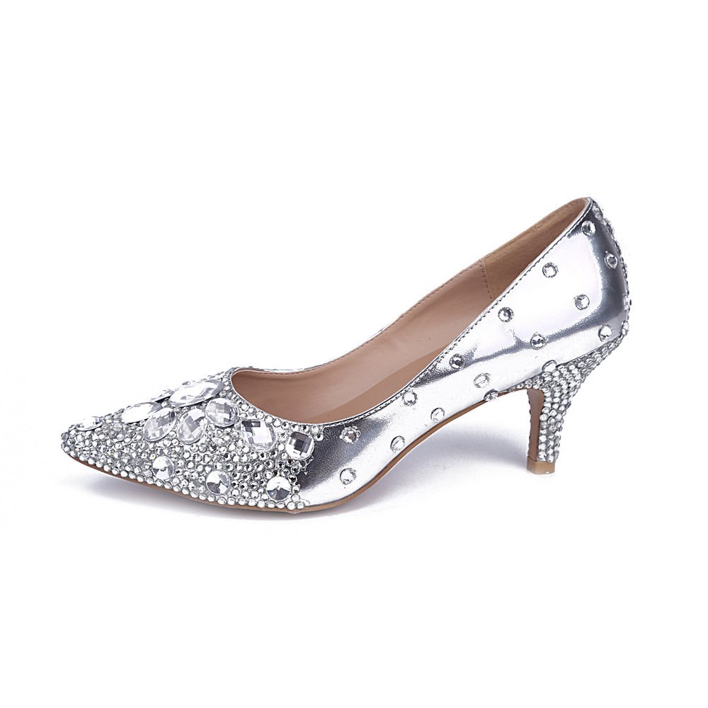 Jianda Womens Silver Bride Crystals Shoes Pointed Toe Party Low Heel Pumps