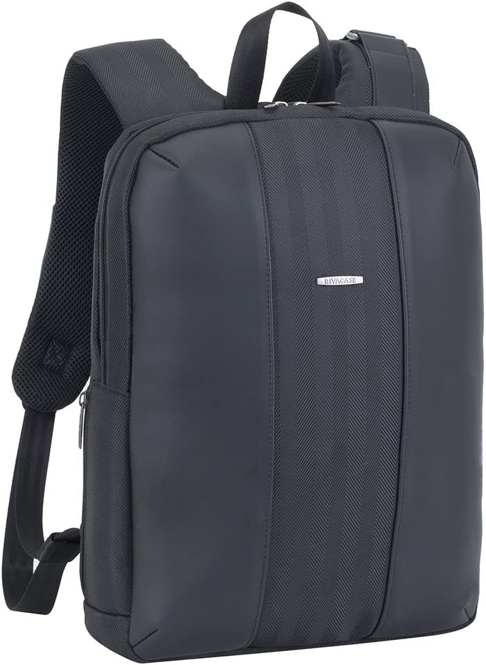 Rivacase 8125 Slim, Business Backpack, 14-inch Laptop Case, Unisex, Faux Leather Back Pack, Black