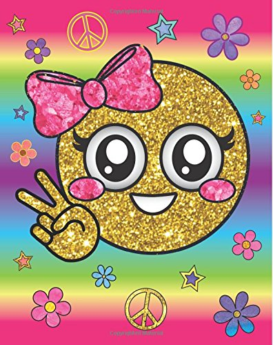 Cute Peace Girl Rainbow Emoji Diary: Hippie Flower Pink Bow Emoji Diary Journal with 160 Lined Pages, 8x10 inch Blank Notebook with Rainbow Design Softcover for Girls, Boys, Kids & Adults