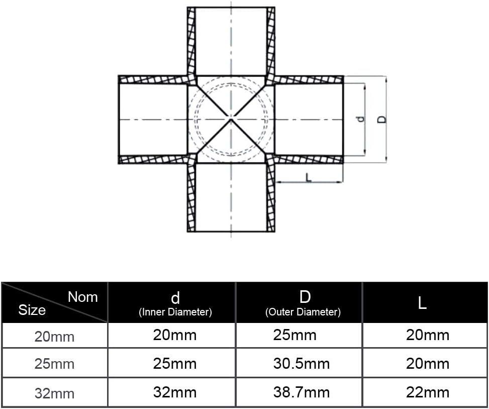 Gardeningwill 10/pcs Croix 4/Way PVC pour Construire Heavy Duty Serre Cadre meubles Connecteurs 32mm blanc